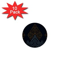 Geometric Triangle Grey Gold 1  Mini Buttons (10 Pack)  by Alisyart