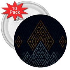 Geometric Triangle Grey Gold 3  Buttons (10 Pack)