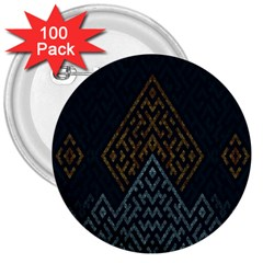 Geometric Triangle Grey Gold 3  Buttons (100 Pack)