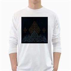 Geometric Triangle Grey Gold White Long Sleeve T-shirts by Alisyart