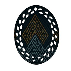 Geometric Triangle Grey Gold Ornament (oval Filigree)