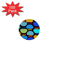 Fruit Apples Color Rainbow Green Blue Yellow Orange 1  Mini Buttons (100 Pack)