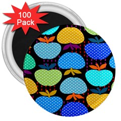 Fruit Apples Color Rainbow Green Blue Yellow Orange 3  Magnets (100 Pack)