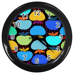 Fruit Apples Color Rainbow Green Blue Yellow Orange Wall Clocks (black) by Alisyart
