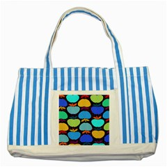 Fruit Apples Color Rainbow Green Blue Yellow Orange Striped Blue Tote Bag