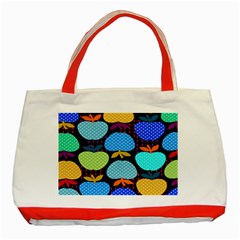 Fruit Apples Color Rainbow Green Blue Yellow Orange Classic Tote Bag (red) by Alisyart