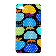 Fruit Apples Color Rainbow Green Blue Yellow Orange Apple Iphone 4/4s Seamless Case (black)