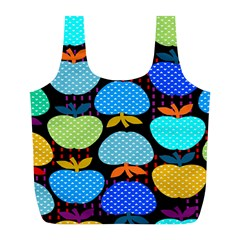 Fruit Apples Color Rainbow Green Blue Yellow Orange Full Print Recycle Bags (l)
