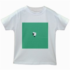 Goat Sheep Green White Animals Kids White T Shirts by Alisyart