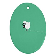 Goat Sheep Green White Animals Oval Ornament (two Sides) by Alisyart