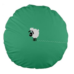 Goat Sheep Green White Animals Large 18  Premium Round Cushions by Alisyart