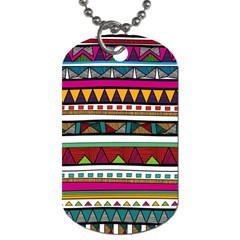Woven Fabric Triangle Color Rainbow Chevron Wave Jpeg Dog Tag (two Sides)