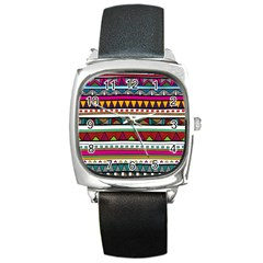 Woven Fabric Triangle Color Rainbow Chevron Wave Jpeg Square Metal Watch by Alisyart