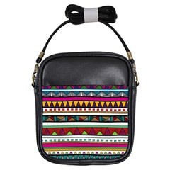 Woven Fabric Triangle Color Rainbow Chevron Wave Jpeg Girls Sling Bags