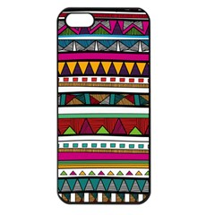Woven Fabric Triangle Color Rainbow Chevron Wave Jpeg Apple Iphone 5 Seamless Case (black)