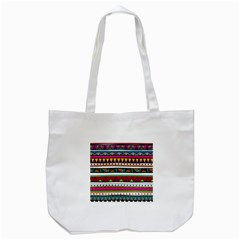 Woven Fabric Triangle Color Rainbow Chevron Wave Jpeg Tote Bag (white)