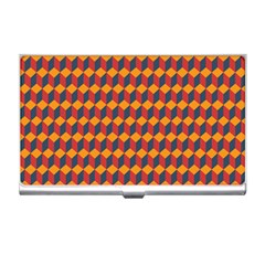 Geometric Plaid Red Orange Business Card Holders by Alisyart