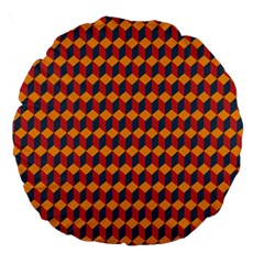Geometric Plaid Red Orange Large 18  Premium Round Cushions by Alisyart