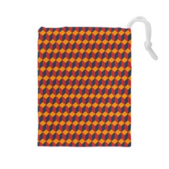 Geometric Plaid Red Orange Drawstring Pouches (large)