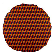 Geometric Plaid Red Orange Large 18  Premium Flano Round Cushions