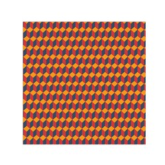 Geometric Plaid Red Orange Small Satin Scarf (square)