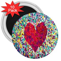 Geometric Heart Diamonds Love Valentine Triangle Color 3  Magnets (10 Pack)  by Alisyart
