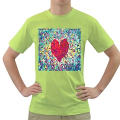 Geometric Heart Diamonds Love Valentine Triangle Color Green T Shirt by Alisyart