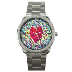 Geometric Heart Diamonds Love Valentine Triangle Color Sport Metal Watch by Alisyart