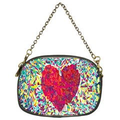 Geometric Heart Diamonds Love Valentine Triangle Color Chain Purses (two Sides)  by Alisyart