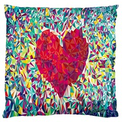 Geometric Heart Diamonds Love Valentine Triangle Color Large Cushion Case (two Sides)