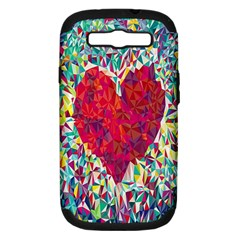 Geometric Heart Diamonds Love Valentine Triangle Color Samsung Galaxy S Iii Hardshell Case (pc+silicone)
