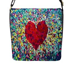 Geometric Heart Diamonds Love Valentine Triangle Color Flap Messenger Bag (l)  by Alisyart