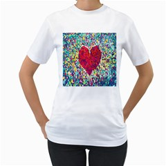 Geometric Heart Diamonds Love Valentine Triangle Color Women s T-shirt (white)  by Alisyart