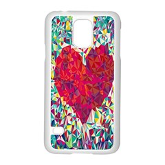 Geometric Heart Diamonds Love Valentine Triangle Color Samsung Galaxy S5 Case (white)