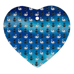 Goose Swan Anchor Blue Heart Ornament (two Sides)