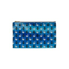 Goose Swan Anchor Blue Cosmetic Bag (small)