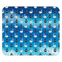 Goose Swan Anchor Blue Double Sided Flano Blanket (small)