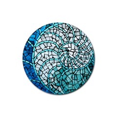 Glass Mosaics Blue Green Rubber Round Coaster (4 Pack)