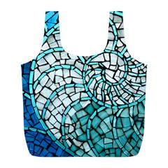 Glass Mosaics Blue Green Full Print Recycle Bags (l)  by Alisyart