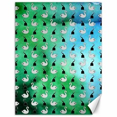 Goose Swan Hook Blue Green Canvas 12  X 16