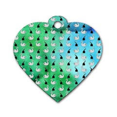 Goose Swan Hook Blue Green Dog Tag Heart (one Side)