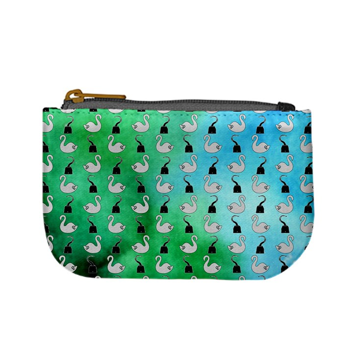 Goose Swan Hook Blue Green Mini Coin Purses