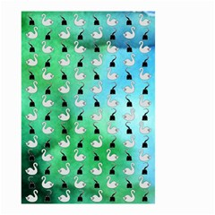 Goose Swan Hook Blue Green Small Garden Flag (two Sides) by Alisyart