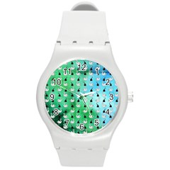 Goose Swan Hook Blue Green Round Plastic Sport Watch (m)