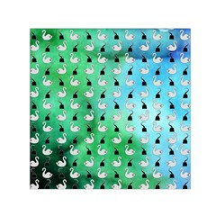 Goose Swan Hook Blue Green Small Satin Scarf (square)