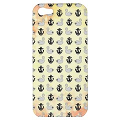 Goose Swan Anchor Gold Apple Iphone 5 Hardshell Case