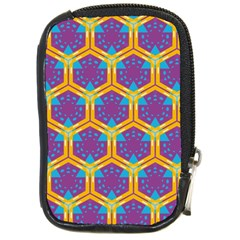 Yellow Honeycombs Pattern                                                          			compact Camera Leather Case by LalyLauraFLM