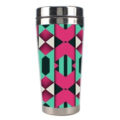 Green Pink Shapes                                 Stainless Steel Travel Tumbler by LalyLauraFLM
