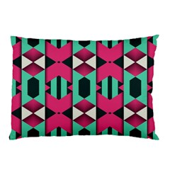 Green Pink Shapes                                 			pillow Case by LalyLauraFLM