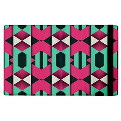 Green Pink Shapes                                			apple Ipad 3/4 Flip Case by LalyLauraFLM